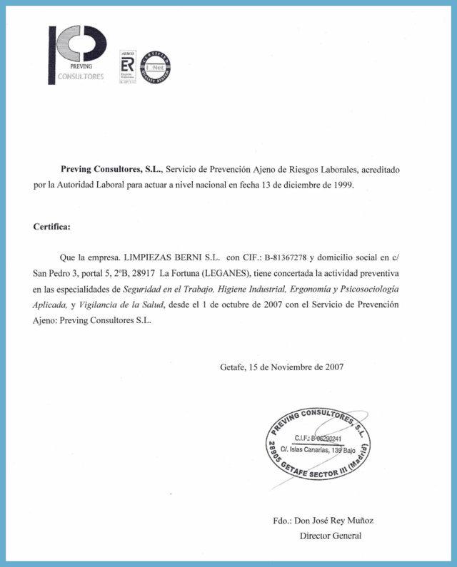 Empresa de limpieza en Madrid - Certificado Prevención de Riesgos laborales